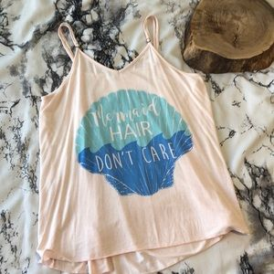 Blush Pink Mermaid Hair Don't Care Tank M